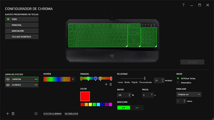 how to change color on razer deathstalker chroma