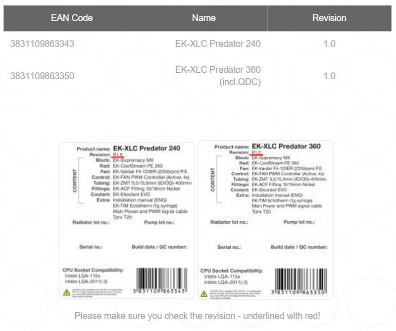 EK retira del mercado la versión 1.0 de sus kits de refrigeración líquida Predator, Imagen 1