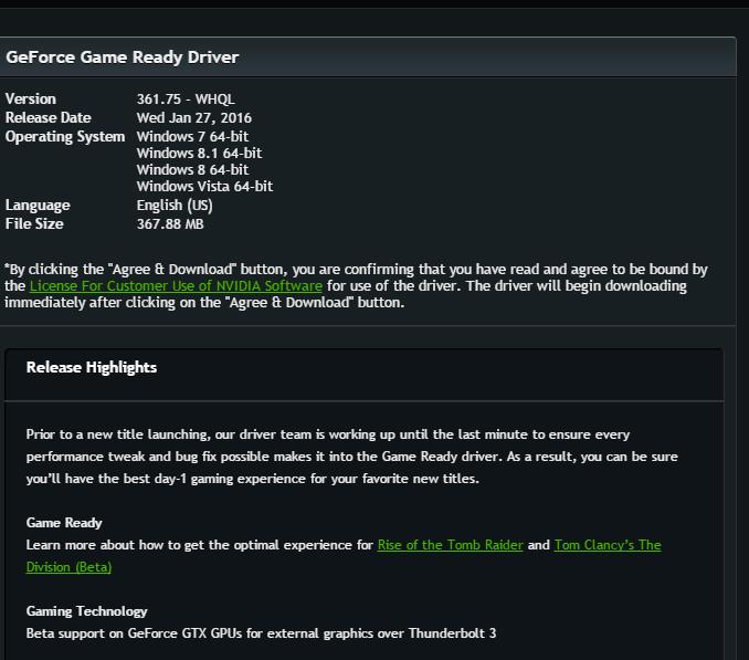 Nuevos drivers de NVIDIA con soporte para el nuevo Tomb Raider, la beta de The Division y GPUs externas por Thunderbolt 3, Imagen 1