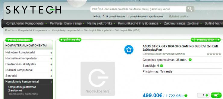 Aparece listada la ASUS ROG STRIX GTX 1060 por 499 Euros, Imagen 1