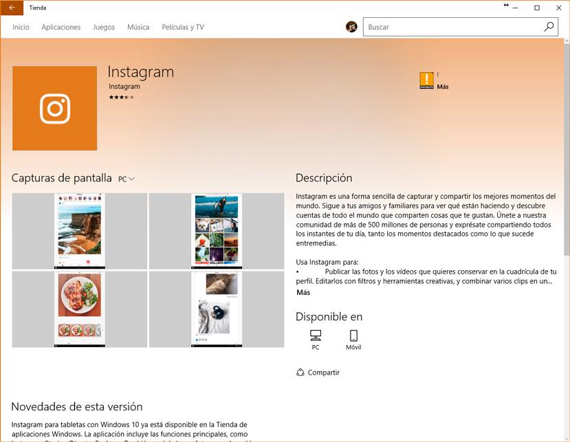 Ya disponible la app de Instagram para Windows 10, Imagen 1