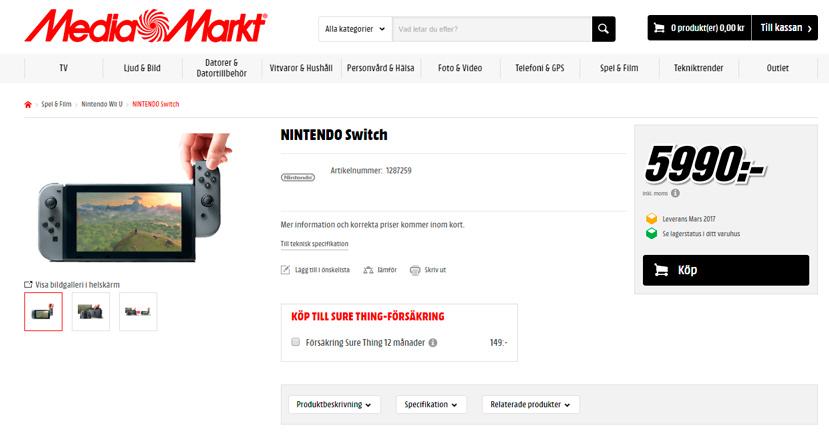 Aparece la Nintendo Switch en Mediamarkt Suecia por unos 620 Euros, Imagen 1