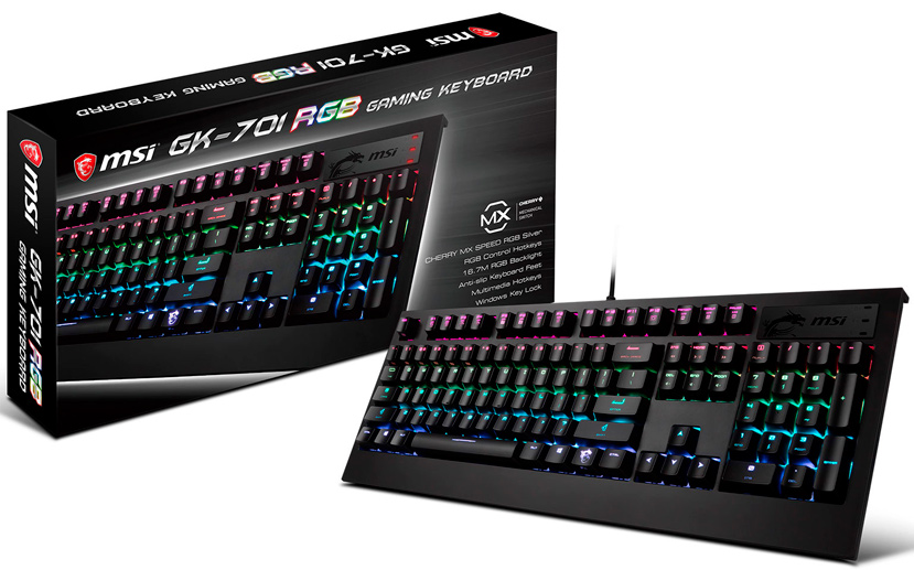 MSI anuncia su teclado mecánico GK-701 RGB con Cherry MX Speed Silver, Imagen 1