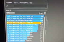 Se filtran los resultados del test Cinebench del Intel Core i7-8700K