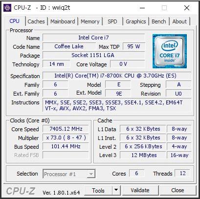 Consiguen alcanzar los 7,45 GHz con un Core i7-8700K, Imagen 1