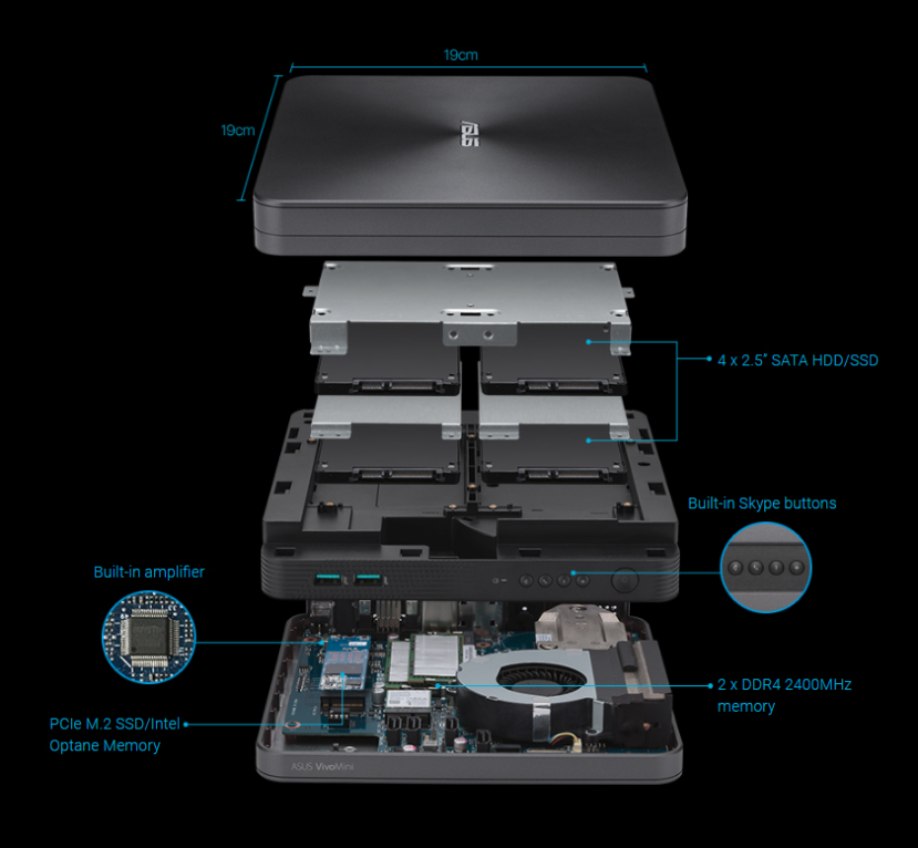 El mini PC ASUS VivoMini VC68V es capaz de albergar 5 discos duros, Imagen 1