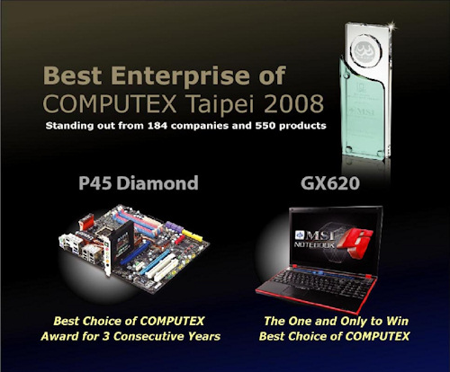 Computex 2008: MSI recibe el premio a la mejor empresa de Computex 2008, Imagen 1