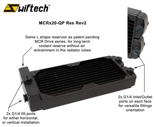 MCRx20-QP radiador con depósito integrado de Swiftech, Imagen 1