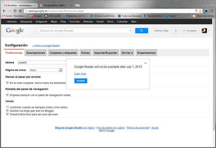 Google anuncia el cierre de Reader, su lector de RSS, Imagen 1