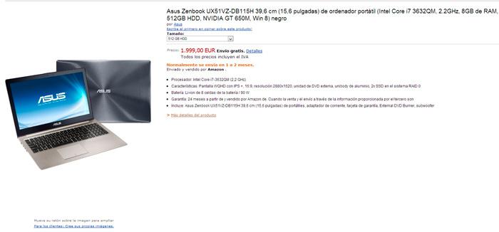 Aparece un ASUS Zenbook con pantalla de 2880 x 1620 píxeles de resolución, Imagen 2
