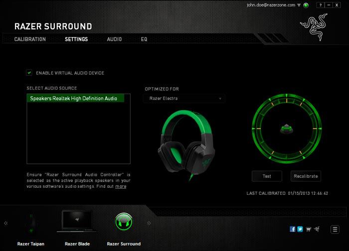 Razer Surround, software gratuito para dotar de sonido envolvente 7.1 a cualquier auricular estéreo, Imagen 1