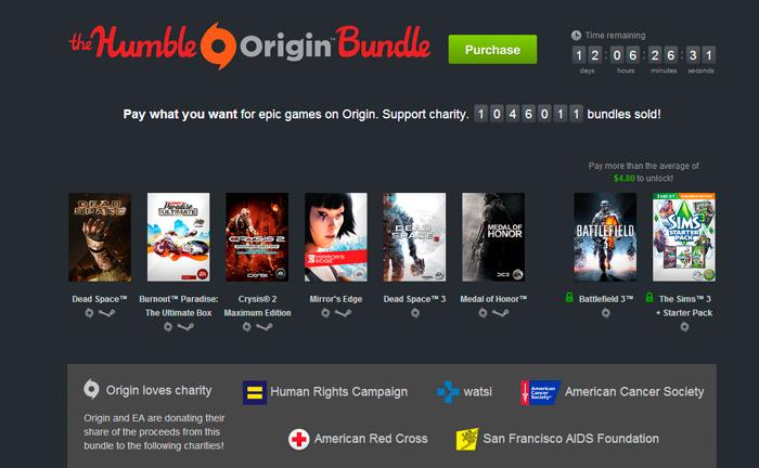 EA lanza una campaña benéfica en Humblebundle con varios títulos disponibles a cambio de una donación voluntaria, Imagen 1