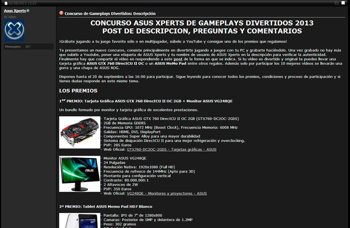 ASUSXperts lanza un concurso de Gameplays con varios productos de ASUS como premio, Imagen 1