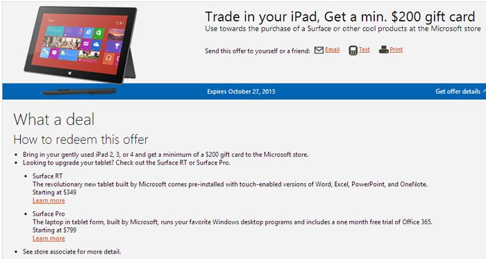 Microsoft regalará como mínimo 200 Dólares a los que entreguen su iPAD a la Microsoft Store, Imagen 1