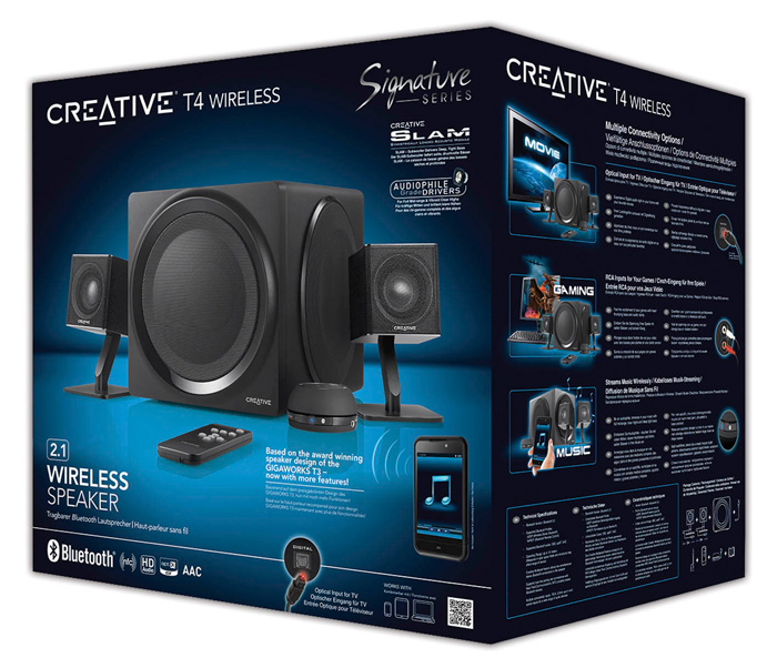Creative T4 Wireless, sistema de altavoces 2.1 inalámbricos, Imagen 2