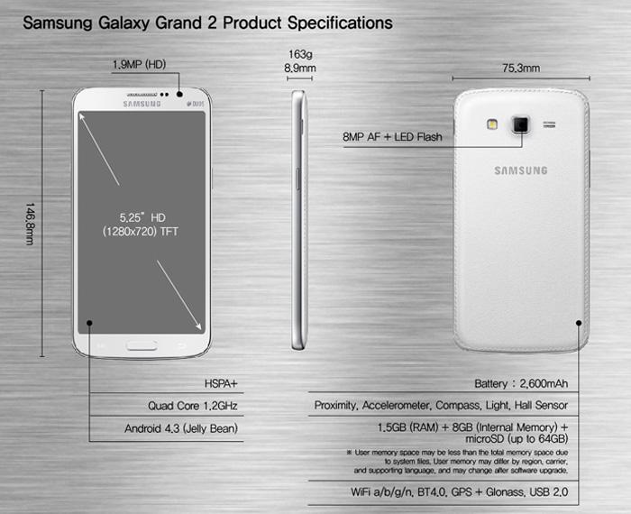 Samsung presenta el Galaxy Grand 2 de 5.2 pulgadas, Imagen 2