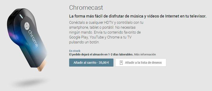 El Google Chromecast ya se vende oficialmente en España, Imagen 1