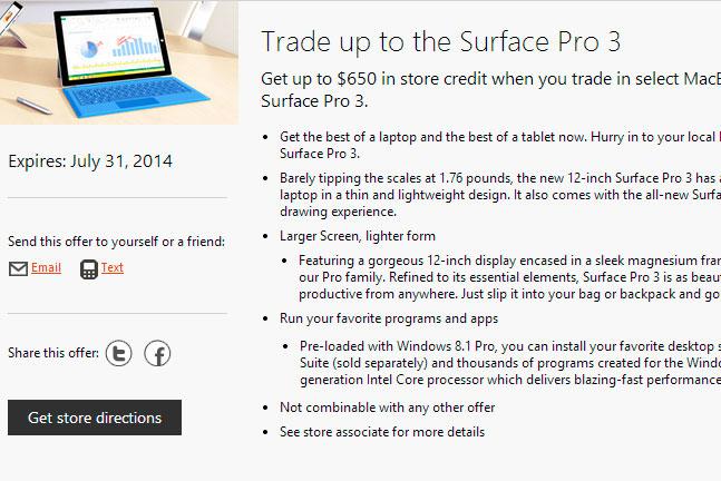 Microsoft ofrece 650 Dólares si entregas un MacBook Air para comprar una Surface Pro 3, Imagen 1