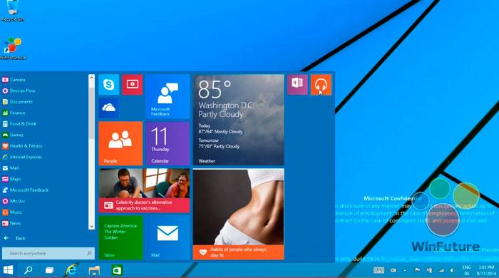 Se filtra un vídeo del menú de inicio del nuevo Windows 9, Imagen 1