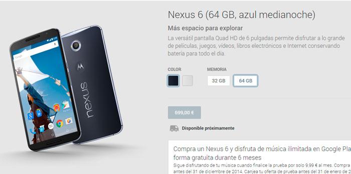 Aparecen los Nexus 6 en la web española de Google Play, Imagen 1