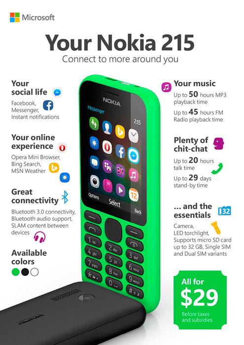 Microsoft lanza el Nokia 215 por 29 Dólares, Imagen 1