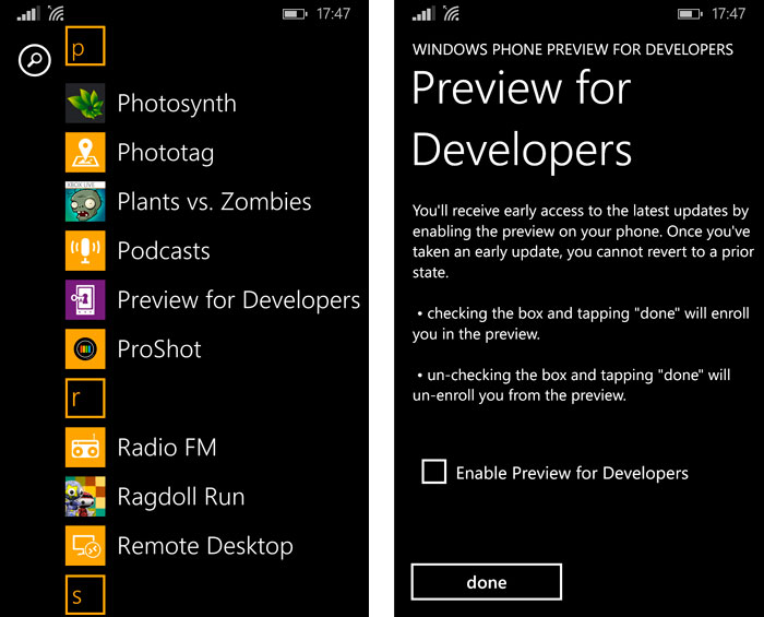 Activar el acceso vía OTA a las Preview for Developers de Windows Phone, Imagen 2