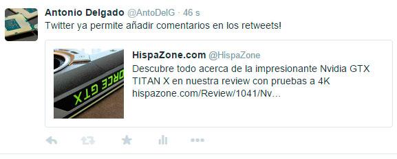 Twitter ya permite añadir comentarios a los retweets, Imagen 1