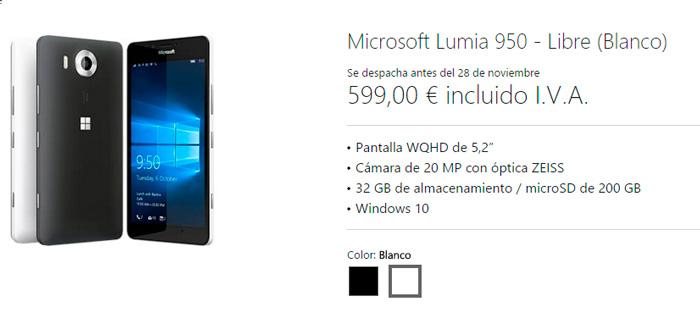 Los Lumia 950 y 950 XL ya se pueden reservar en España, llegarán dentro de un mes, Imagen 1