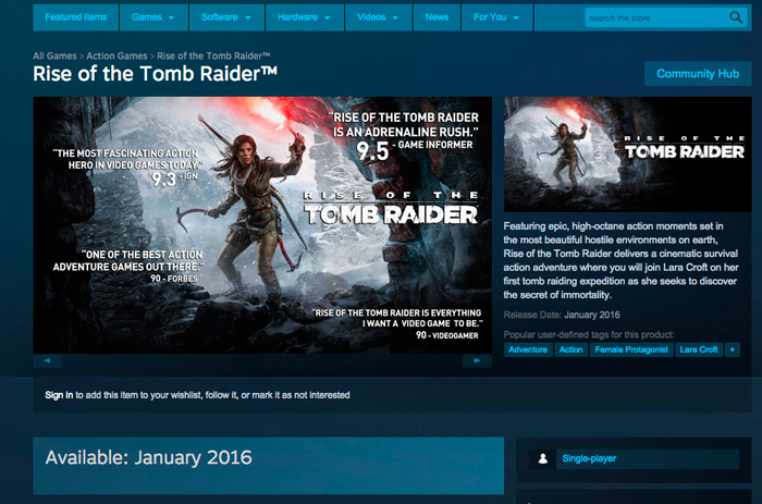 Rise of the Tomb Raider llegará a PC en enero, Imagen 1