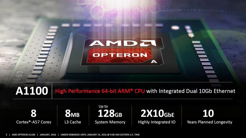 Comienza la fabricación en serie del AMD Opteron A1100 con arquitectura ARM, Imagen 1