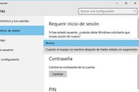 Como hacer que Windows 10 no pida contraseña cuando vuelve de suspensión o hibernación