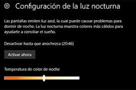 Configura el modo de luz nocturna en Windows 10 Creators Update 15063