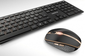 El Cherry DW 9000 SLIM es un combo teclado/ratón inalámbrico, recargable y ultra fino