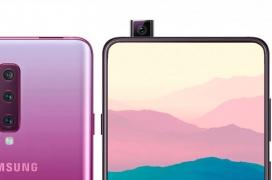 El Samsung Galaxy A90 posa en este render con cámara frontal extraíble y triple sensor trasero