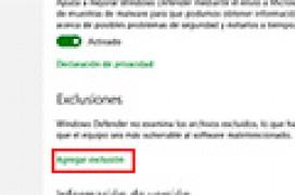 Añadir exclusiones a Windows Defender