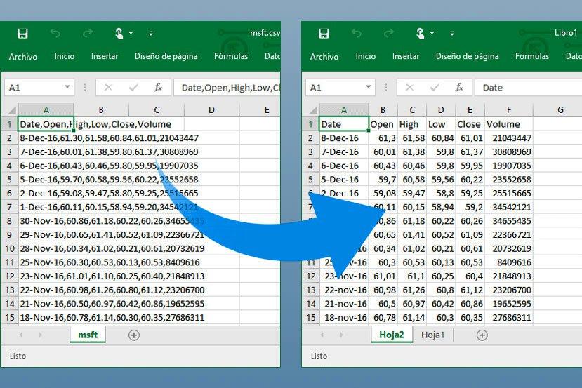Cómo abrir correctamente un archivo CSV en Excel