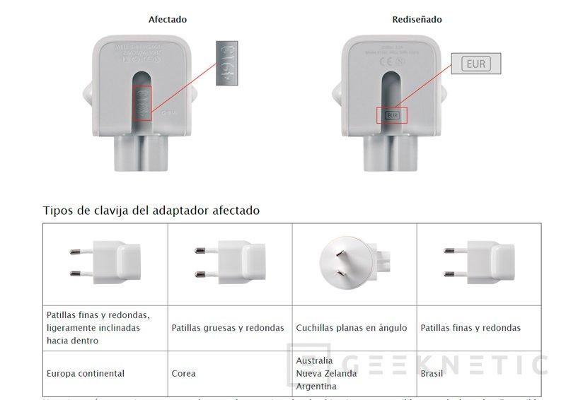 Apple comienza a retirar sus adaptadores de corriente por provocar descargas eléctricas al tocarlos, Imagen 1