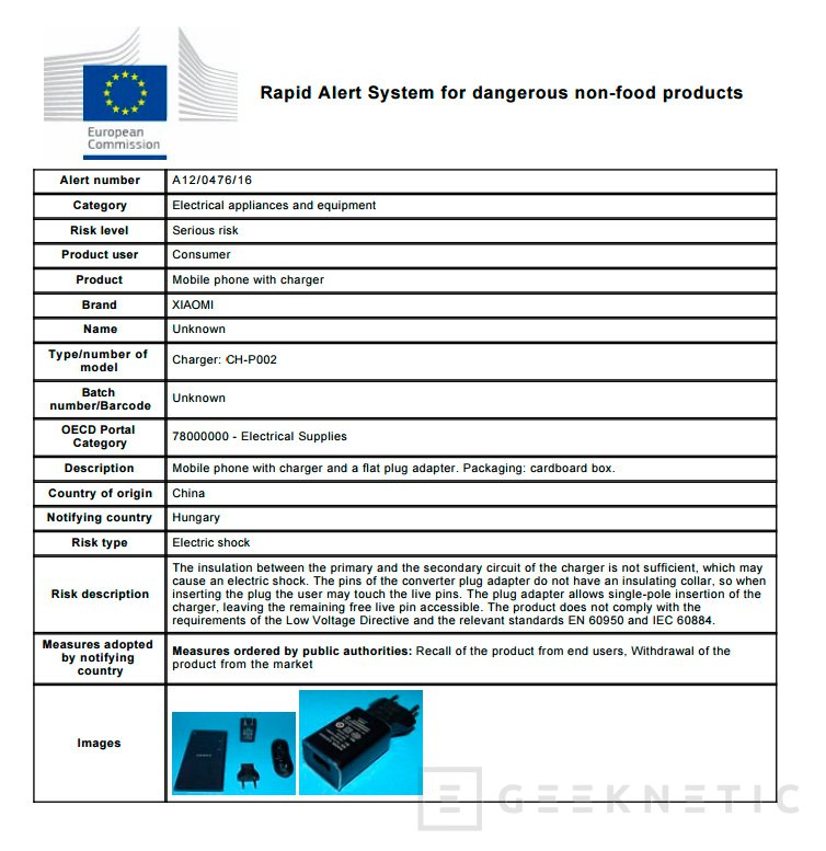 La Comisión Europea ordena retirar inmediatamente los cargadores de  Xiaomi por riesgo de shock eléctrico, Imagen 1