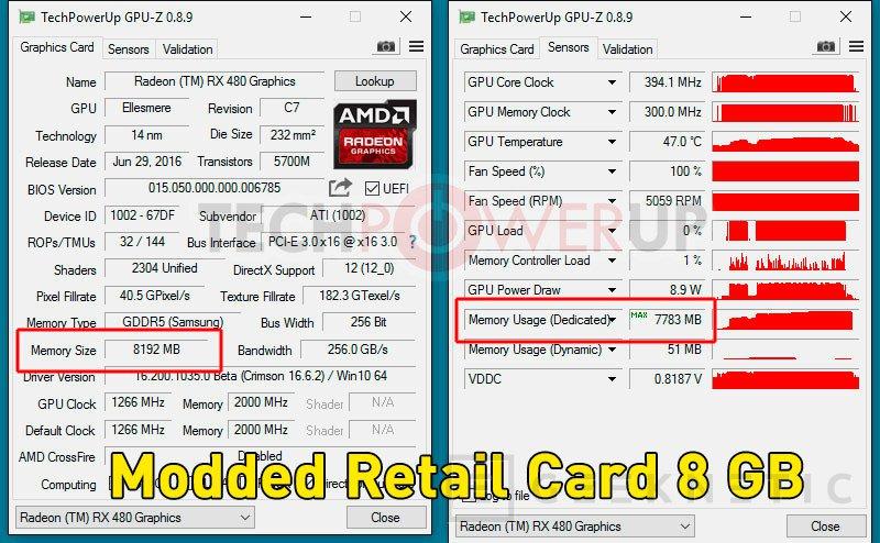 Algunas AMD Radeon RX 480 de 4GB vienen con 8GB de memoria, Imagen 1