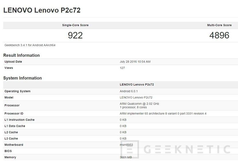 El Lenovo Vibe P2 llegará con 4 GB de RAM y un Snapdragon 625, Imagen 1