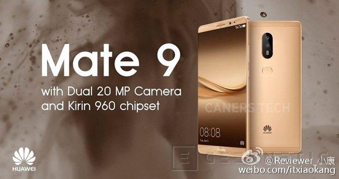 El Huawei Mate 9 se deja ver con cámara dual de 20 MP y SoC Kirin 960, Imagen 1