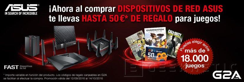 ASUS regala hasta 50€ en juegos en G2A por la compra de dispositivos de redes, Imagen 1