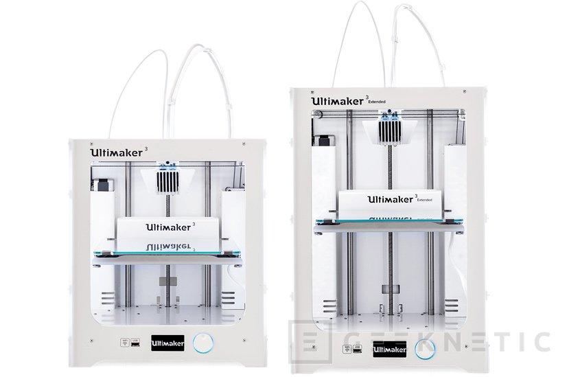 Ultimaker renueva sus impresoras 3D con doble cablezal, WiFi y Ethernet, Imagen 1
