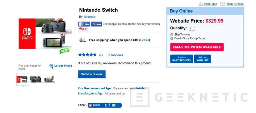 Aparece la Nintento Switch en Canadá por unos 225 Euros, Imagen 1
