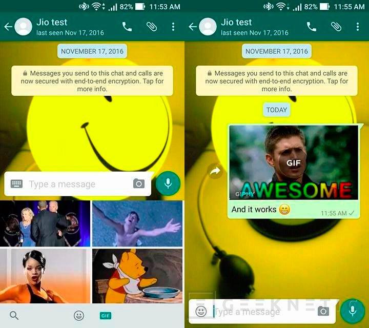 Whatsapp trabaja en un buscador de gifs integrado, Imagen 1