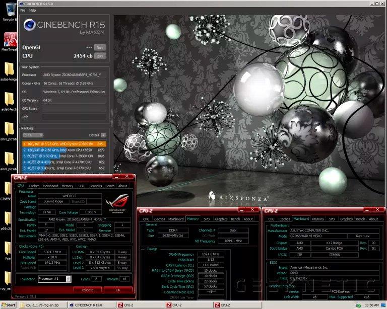 El AMD RYZEN 7 1800x con overclock bate el record mundial en Cinebench R15, Imagen 1