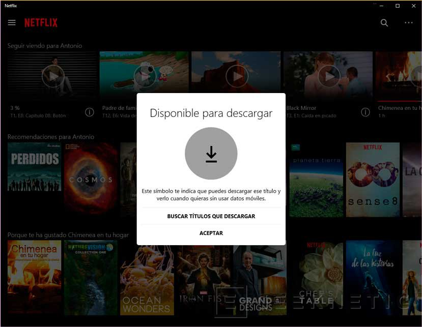 Netflix ya permite descargar contenidos en la app de Windows 10, Imagen 1
