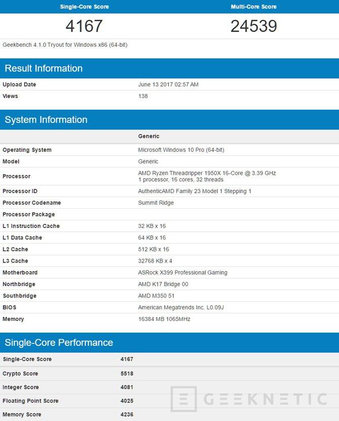 Primeros benchmarks del procesador AMD Threadripper de 16 núcleos, Imagen 1