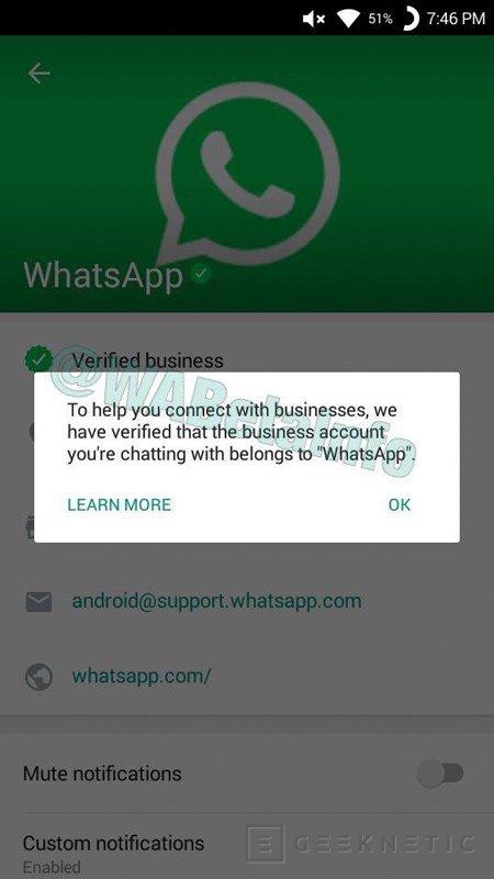 Whatsapp integrará un sistema de cuentas verificadas para empresas, Imagen 1