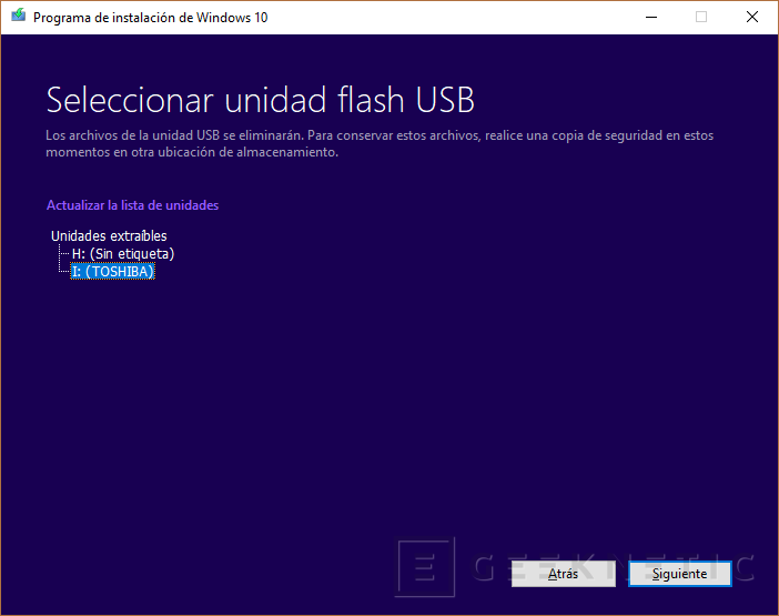 Windows 10 instalación elegir USB